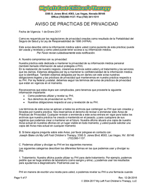 Notice of Privacy Practices (Spanish)