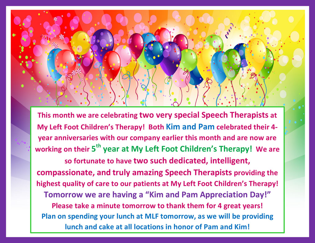 Birthday Celebration for two Speech Therapists